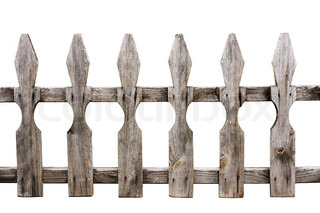 old weathered wooden fence isolated on white background