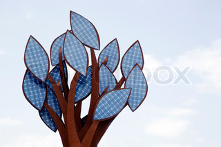 A tree with leaves of solar collectors. Alternative Energy