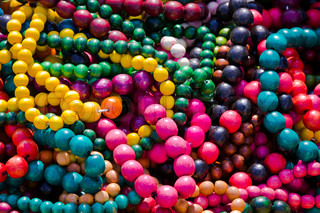 Close up of colorful necklace pil