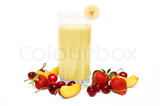 Fruit smoothie with  cherry, strawberry and  peach isolated on white background
