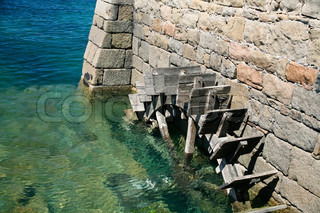 blades of wheel of old tide-mill on Ile de Brehat Brittany France