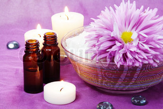 Aroma Oil Bottles and Salt with Candles