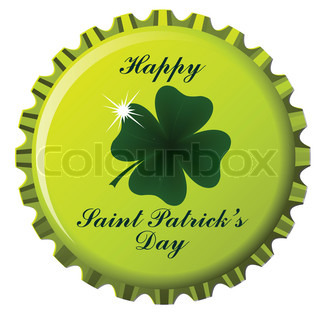 happy saint patrick's day theme on bottle cap against white background; abstract art illustration