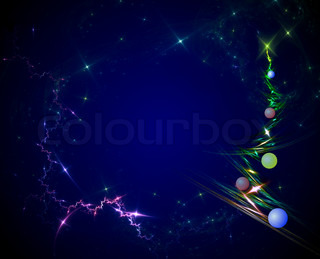 Christmas card. Christmas tree with balls, design, black and blue background