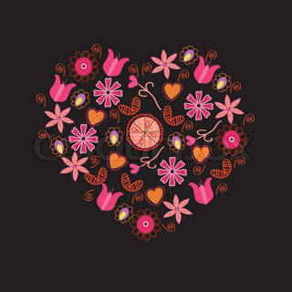 Floral heart with pink flowers and symbols on black
