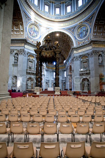 interior of St.Peter Basilica and Bernini's baldacchino, Vatican, Italy