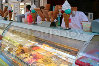 shop window with ice-cream  on street