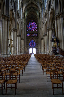 the middle pace in Notre Dame cathedral in Reims, France