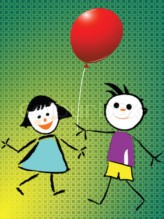 boy and girl playing with balloon, abstract art illustration