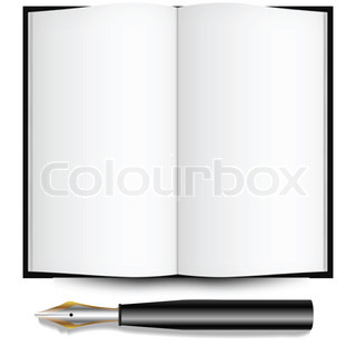fountain ink pen and open book against white background, abstract art illustration