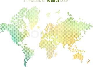 Dotted world map of hexagonal dots on white background vector vector hexagonal world map gumiabroncs Gallery