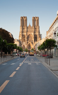 view on gothic catholic Notre Dame Cathedral in Reims, France
