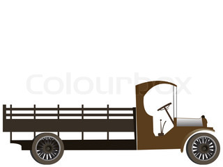 old truck isolated on white background, with room for text on top; abstract art illustration