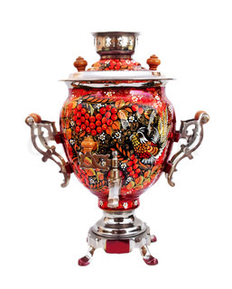 Red russian traditional samovar isolated