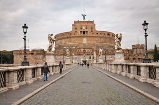 view on St Angel castle - ancient  fortress trough St Angel Bridge in Rome, Italy