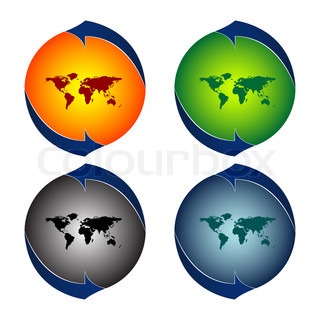 round logos with world map against white background, abstract art illustration