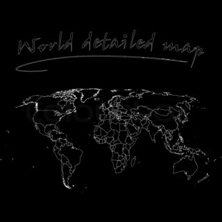 White world map isolated on black background abstract art detailed world map over black background abstract art illustration gumiabroncs Gallery