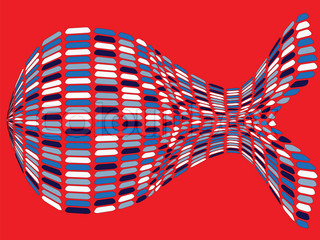 fishy shape against red background, abstract art illustration