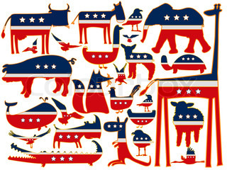animals against white background, with stylized american flag; abstract art illustration