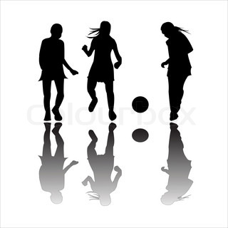 girls playing football, art illustration; more drawings in my gallery