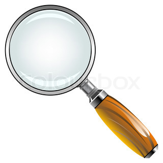 magnifying glass with wooden handle against white background, abstract art illustration
