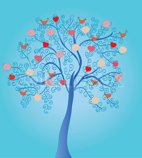Love tree with roses and birds