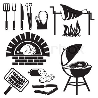 barbecue and cooking meat icons