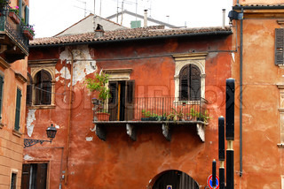 old building facade wall and balcony, architecture details of Padua, Italy