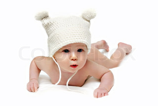 Newborn baby in the cap isolated