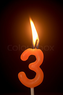 Birthday Number Anniversary Candle 3