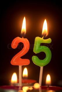 Birthday Number Anniversary Candle 25 Year Old