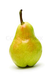 Single ripe pear isolated on white background