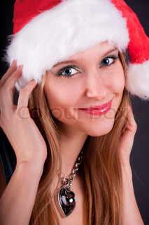 Christmas girl in the Santa Claus hat