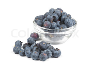 A bowl of fresh blueberries, isolated on a white background