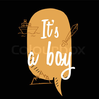 Baby Shower Boy Inscription With Doodle Elements.brown Speech Bubble Vector  Illustration