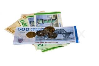 Dansk valuta , fem , to og et hundrede kroner noter