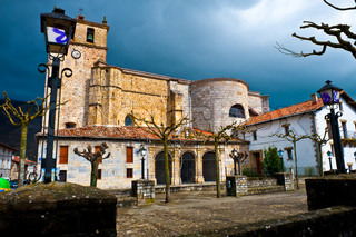 The Main Square of Medieval Spanish Town in Rainy Day