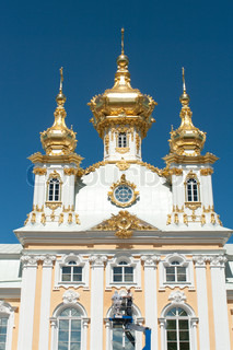 The Big Palace against  blue sky. Peterhof,St.Petersburg, Russia.Resatoration works of Greate  Peterhof Palace
