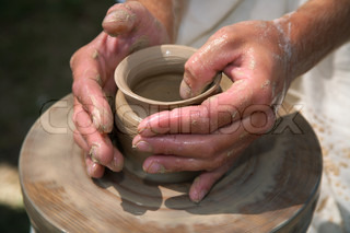 Magic transformation of a piece of clay into the true  utensils.