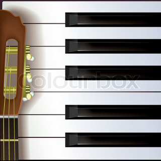 abstract music background with acoustic guitar and piano