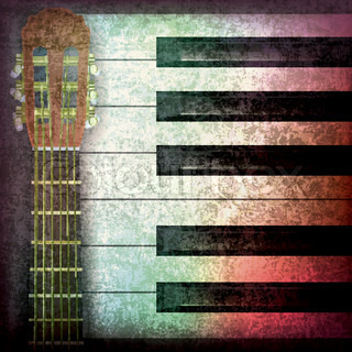 abstract music grunge background with guitar and piano