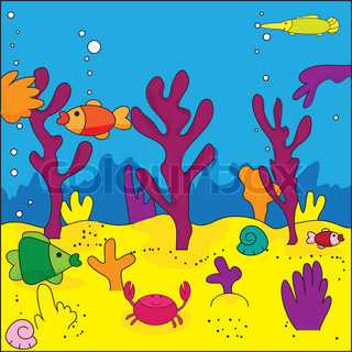 Cute illustration of sea life, marine life, vector