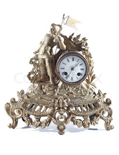Old mechanical fireplace clock with the knight on white background