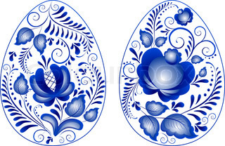 Eggs easter in gzhel style. Gzhel (a brand of Russian ceramics, painted with blue on white)