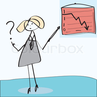 Cartoon businesswoman is having a question