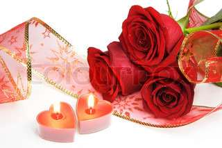 Two Valentine Burning Candle Hearts and Roses