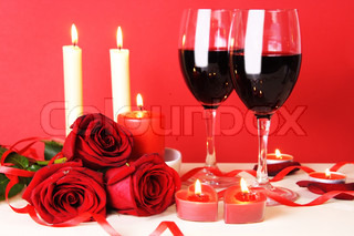 Romantic Dinner for Two with Wine Still Life