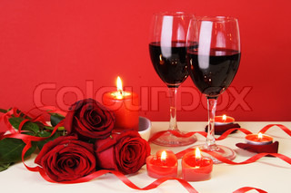 Romantic Candlelight Dinner for Two Lovers Concept Horisontal