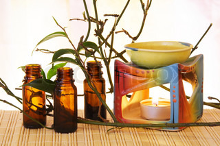 Oil Bowl Burner and Bottles Aromatherapy Still Life
