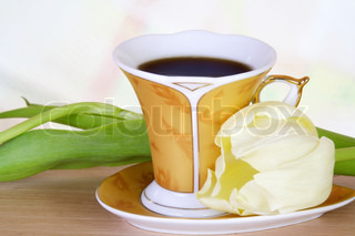 Luxury Coffee Golden Cup with White Tulip